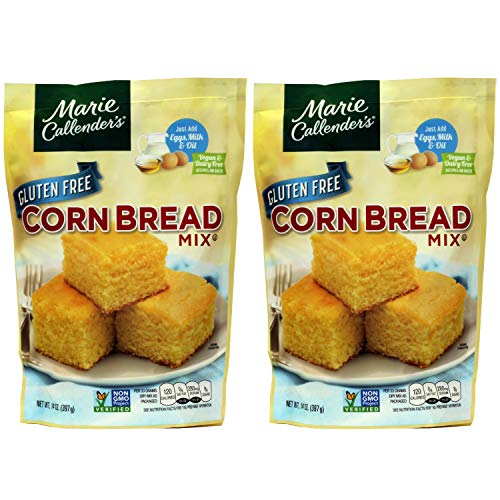 """Marie Callender's CornBread Mix, GLUTEN FREE, 14OZ BAG. Add Eggs, Milk, Oil. Then Mix and Bake. Makes 8"""" Loaf (Pack of 2)"""