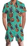 Pineapple with Sunglass Overalls for Men Stylish Zipper Short Elastic Waistband Romper Holiday Retro Green Hot Tracksuits Young Man Tropical Hawaiian Beach Short Sleeve Linen Jumpsuits, Ananas XXL