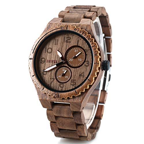 BEWELL 154A Herren-Multifunktions-Armbanduhr Analoges Japanisches Quarzwerk mit Walnussholz-Uhrenarmband mit Datumsanzeige und Kleinen Zifferbl?ttern