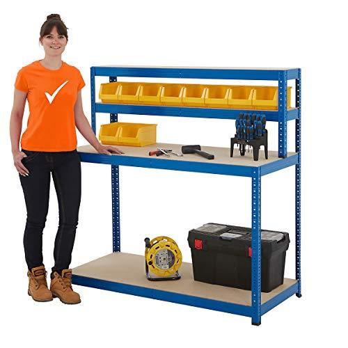 Packtisch mit Regalaufsatz | Tragkraft 300 kg | HxBxT 1400 x 1200 x 600 mm | Unkomplizierte Steckmontage | Werktisch Arbeitstisch Mehrzwecktisch