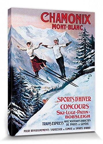 1art1 Esquí - Winter Sports In Chamonix Mont Blanc Cuadro, Lienzo Montado sobre Bastidor (40 x 30cm)