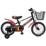 ビスマーク 18インチ ブラックレッド 補助輪付き かご付き 組み立て式 子供用自転車 幼児自転車
