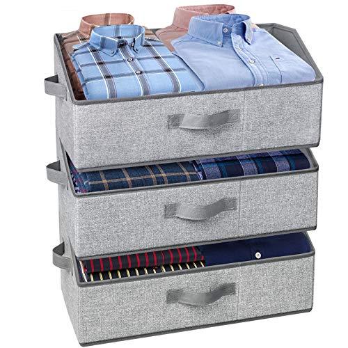 3 Pack Storage Bins Trapezoid Large Storage Box Foldable Fabric Bins and Baskets Clothes Storage Bin Box for Shelf Closet Office Jumbo 20L x 11W x 85H Grey