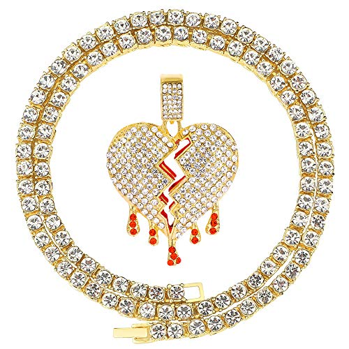 Mens Bling Iced Out Broken Heart Pendant Chain Fake Diamond Tennis Cuban with Heartbreaks 24 Inches (Heart E-Gold, & Tennis)
