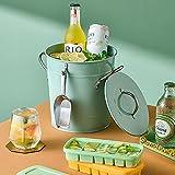 Xiaoli Ramo de Hielo Cubo de Hielo de Acero Inoxidable Vintage Partido Personalizado Cubierto de Hielo Mesa de Cubo con Tapa Utensilios de Cocina Cubiteras (Color : Green)