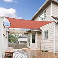 Shade&Beyond 7'x13' Rectangle Sun Shade Sail for Outdoor Facility and Activities (Rust Red)