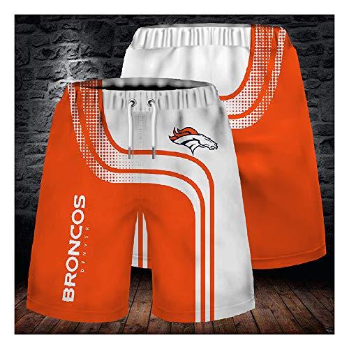 GMRZ Herren Short Stretch Strandhose, NFL Mit Denver Broncos Logo 3D Design American Football Team Sporthose Fans Rugby Kurze Hose Sommer-Mode Sport Shorts Herren Damen,XL