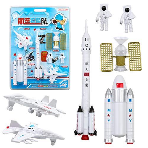 XuBa 7 Stück Simulieren Space Rakete Modeling Figuren Spielzeug Set für Kinder Geburtstag Geschenk Happy New Year Geschenk für Kinder