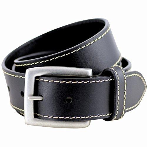 LINDENMANN Ledergürtel Herren/Gürtel Herren, Vollrindledergürtel XL, schwarz, Größe/Size:110
