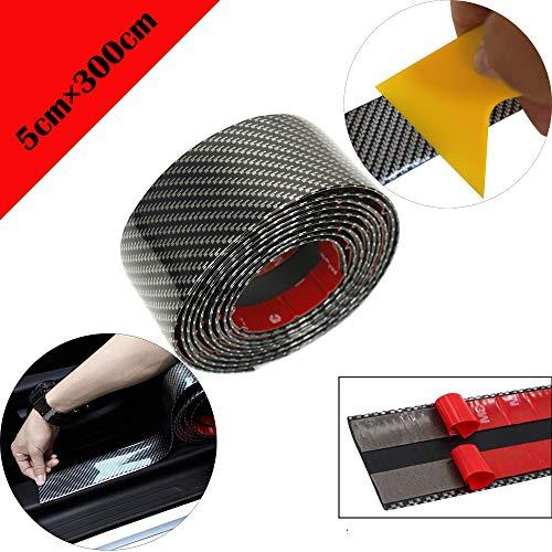 Protectores de umbral de puerta de coche de fibra de carbono universal flexible autoadhesivo para protectores de entrada de puerta de camión SUV de coche (5CMX3M Carbon Black) + raspador amarillo