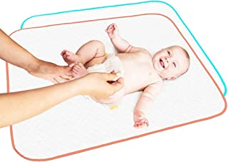 "Portable Changing Pad Large Size 25.5""x31.5"" Pack of 2 - Vinyl Waterproof Reusable Baby Changing Mats for Girls Boys - Reinforced Seams & Free Storage Bag - Change Diaper Mat - Extended Warranty 2 y"