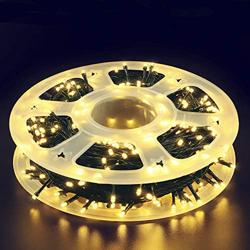 MYGOTO 165FT 500LED String Lights LED Starry Fairy Light, Twinkle String Lights Decorative Lights Green Wire with 8 Modes 30V Plug in for Wedding,Patio,Gate,Party Indoor Outdoor Decor (Warm White)