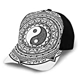 Gorra de béisbol unisex de algodón con diseño de mandala y símbolo de Yin Yang hecho con motivo de Paisley Karma Cosmos