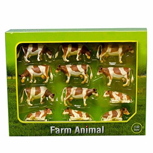 Kids Globe - 571968 - Vaches Assises et Debout - Échelle 1/32 - Rousse/Blanc - Lot de 12
