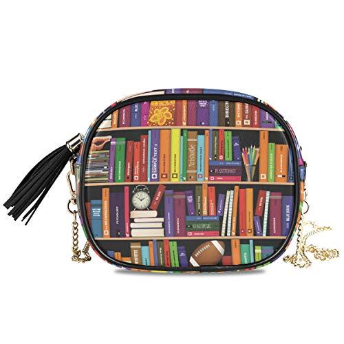 DEZIRO kleurrijke boekenplank kleine PU lederen Crossbody tas met verstelbare metalen ketting riem voor vrouwen