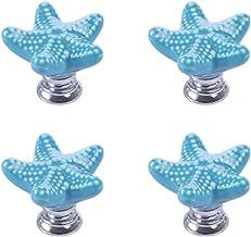 VOSAREA 4 Stuks Lade Knoppen Keramische Lade Trekt Decoratieve Sea Star Shape Kabinet Handles Deurknoppen Voor Thuis Keuke...