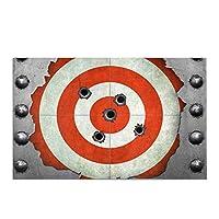 ターゲットと銃弾の穴のある面白い金属フレーム家の装飾滑り止めバスラグマット吸収性バスルームフロアマット玄関マット,40x60 cm