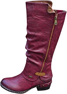 LowProfile Women Soft Leather Knee High Boots Chunky Heel Under Knee High Zipper Riding Boots