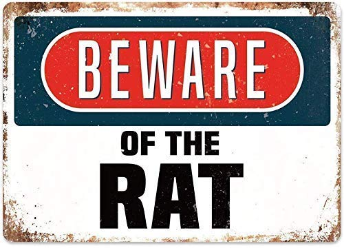 DKISEE Beware of The Rat Furry Vintage, Metal Poster Plaque Warning Sign Iron Painting Art Decor Bedroom Office Hotel 12x18 inch