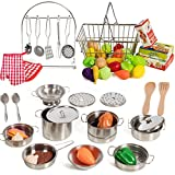 IQ Toys 50 Piece Complete Pretend Play Food and Kitchen Set, Complete with Supermarket Shopping Basket, Toy Cooking Pots, Pans, and Utensils, Kitchen Play Food and Accessories