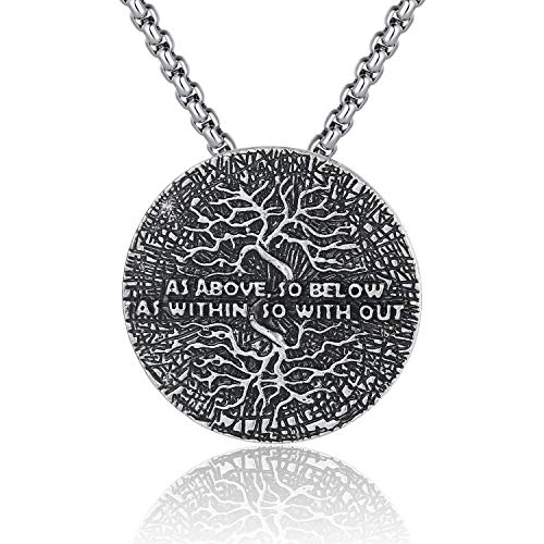 Holyheart Vikings Tree of Life Necklace with As Above So Below As Within So Without Meditation, Runes Yggdrasil Necklace, Spiritual Amulet Jewelry, Yoga Inspired Kybalion Necklace for Men Unisex