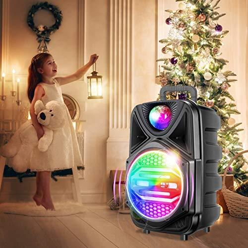 S SMAUTOP Máquina de Karaoke Portátil con Bluetooth, Luz de Atmósfera LED, Ajuste de Reverberación, Entrada AUX y 1 Micrófono,Soporte para Tarjeta TF y USB, Caja de Canto de Karaoke Recargable