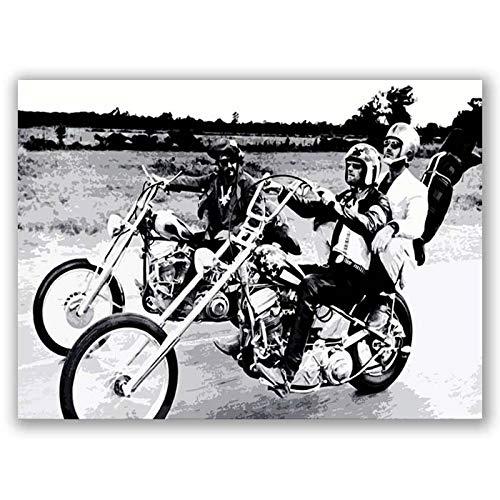 Easy Rider Movie Vintage Retro Art Poster Black White Cuadro Enmarcado Imprimir Imagen