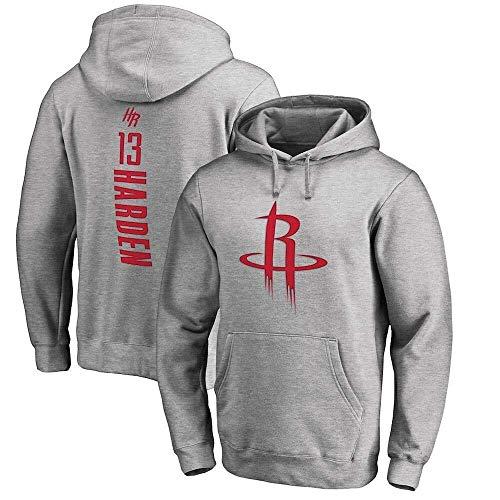 LLSDLS Sudadera con Capucha de la NBA for Hombre Sudadera de Baloncesto Houston Rockets James Harden Camiseta Deportiva de edición Suelta Camiseta (Color : Grey, Size : S)