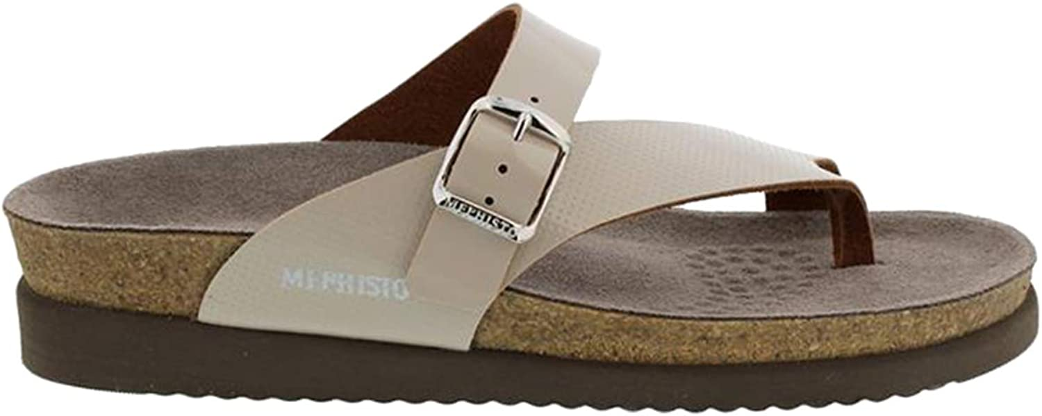 Mephisto Womens Helen Perf Patent Leather Light Sand Sandals 10 US Beige
