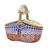 Cesta de pícnic, juego de maleta para 2 personas, cesta de mimbre, cesta de la compra, bolsa de pícnic para el transporte de alimentos al aire libre, camping o picnic (25 x 18 x 26 cm)