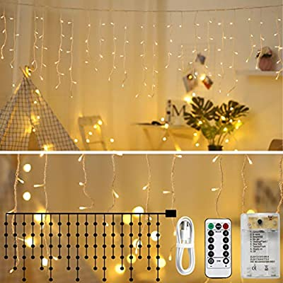 Areskey Icicle Lights, LED Window Curtain String Light,8 Modes USB Battery Operated,Waterproof Fairy String Lights for Indoor Outdoor Decoration,Warm White