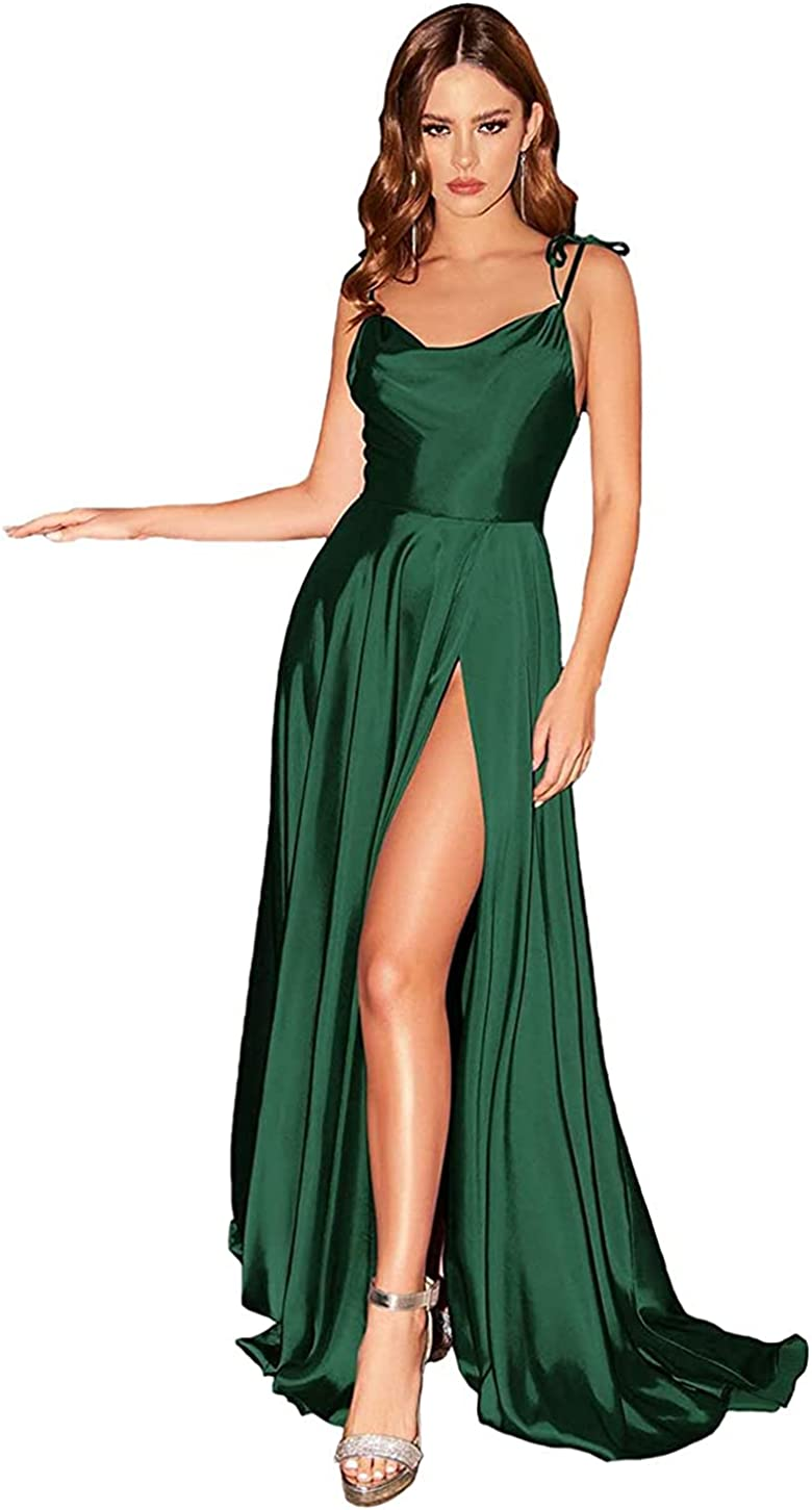 Awishwill Women's High Split Long Prom Dresses 2021 Spaghetti Straps Satin Formal Party Gowns with Pockets