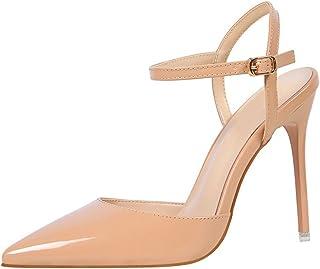 7f694df20704 OALEEN Escarpins Femme Sexy Vernis Bride Cheville Talons Haut Aiguille  Chaussures Soirée