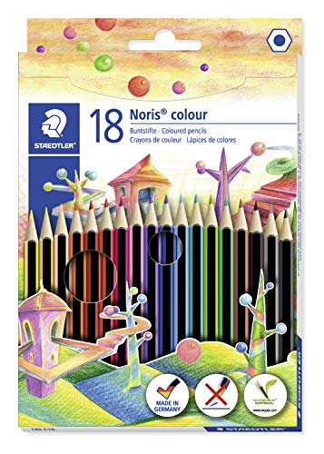 Staedtler Noris 185 C18. Lápices ecológicos. Caja con 18 lápices de colores variados.