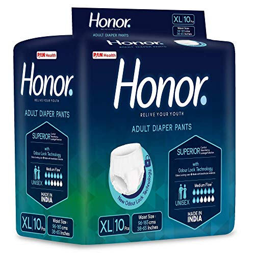 Honor Adult Diaper Pants, X-Large - 10 Count (96-165 cms |38-65 inch)