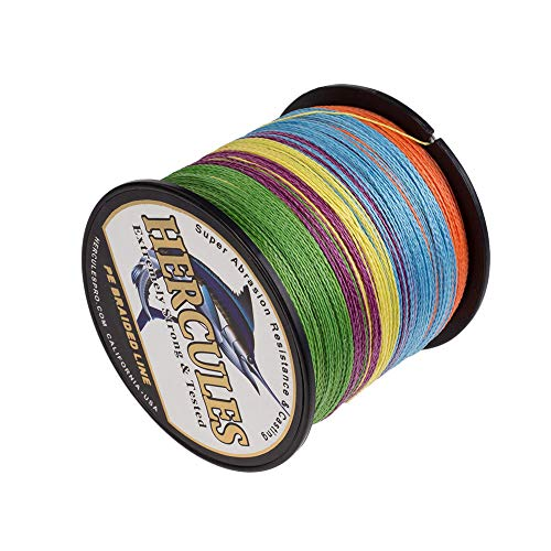 HERCULES Braided Fishing Line 1000m 1094yds 6lbs-100lbs Pe 4 Strands (Multicolor 50lb/22.7kg 0.37mm)