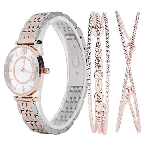 Damenuhr und Armband Set, Uhrenset Damenuhr Set Modeschmuck Geschenkset Armbanduhr Armband für Party Geburtstag Damen Armreif Uhr und Armband Set(Rosa)