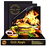Grill Magic BBQ Grill Mat Set of 3 - 100% Nonstick Large Grilling Sheets - Heavy Duty Cooking Mats for Outdoor Grill Charcoal, Gas or Electric - Reusable, Extra Thick and Easy to Clean - 15.75 x 13'