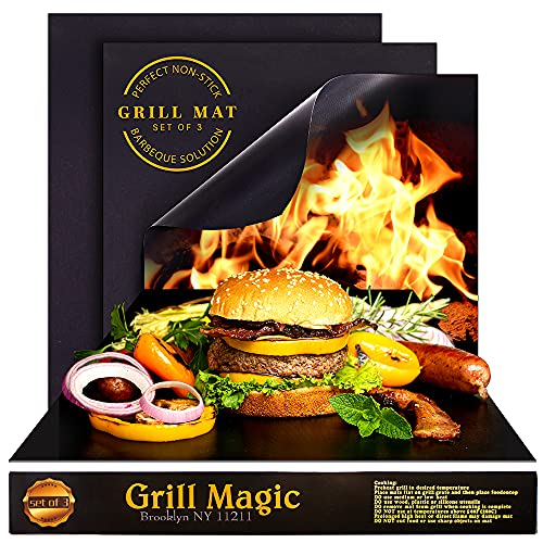 Grill Magic Grill Mat, Set of 3, Heavy Duty BBQ Grill Mats,100% Nonstick, Extra Thick, Reusable, Easy to Clean, Works On Grill Charcoal, Gas or Electric or For Cooking 15.75 x 13-Inch.