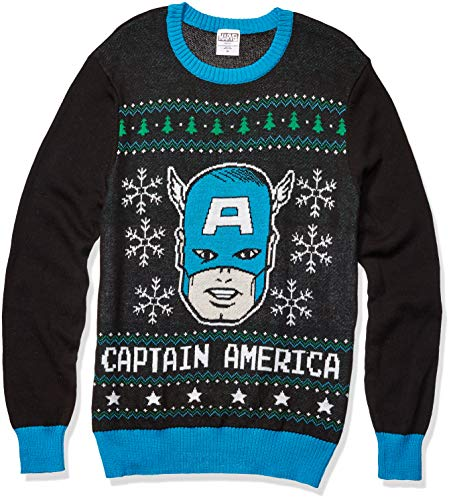 Marvel Men's Captain America Sweater, Black, Large