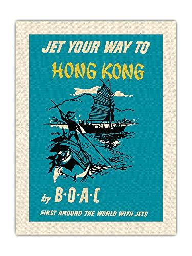 Boac (British Overseas Airways Corporation) - First around the World with Jets - Póster vintage de viaje de línea aérea c.1957 - Impresión de tela orgánica RAW 61 x 81 cm