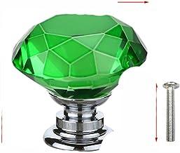 20 30 40mm Diamond Shape Design Crystal Glass Knoppen Kast Lade Pull Keukenkast Deur Garderobe Handvatten met Schroef-Groen