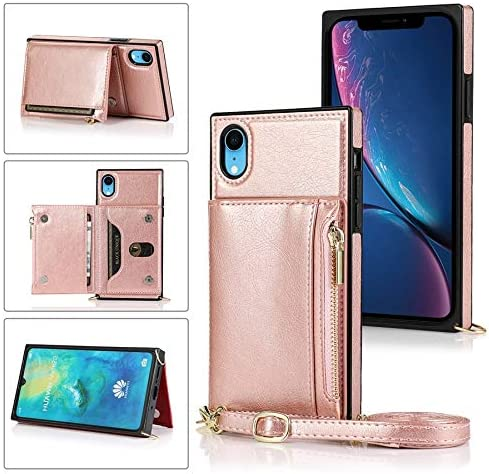 SLDiann Case for iPhone XR, Zipper Wallet Case with Credit Card Holder/Crossbody Long Lanyard, Shockproof Leather TPU Case Cover for iPhone XR (Color : Rosegold)
