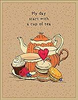 お茶のカップ付きヴィンテージ鉄絵壁装飾トレンド人気のポスターバーカフェストアの手作りアートホームガレージ8X12インチヴィンテージサイン