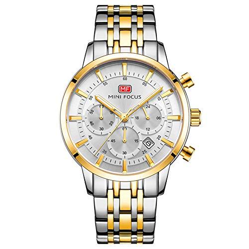JTTM Reloj Analógico De Cuarzo para Hombre Manos Luminosas Multifunción Calendario 30M Impermeable Correa En Acero Inoxidable Negocio Relojes,White Gold