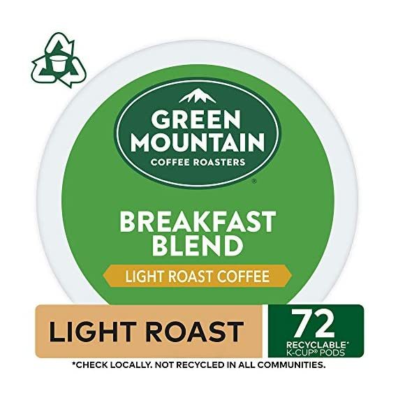 Green Mountain Coffee Roasters Breakfast Blend, Single-Serve Keurig K-Cup Pods, Light Roast Coffee, 72 Count 3 Taste: an eye-opening Decaf as delightful as the dawn itself. Clean and bright, with balanced sweetness, nutty flavor, and a silky mouthfeel. Roast: light roast, 100% Arabica decaffeinated coffee and is certified Orthodox Union Kosher (U) Sustainability: committed to 100% responsibly sourced coffee by end of 2020