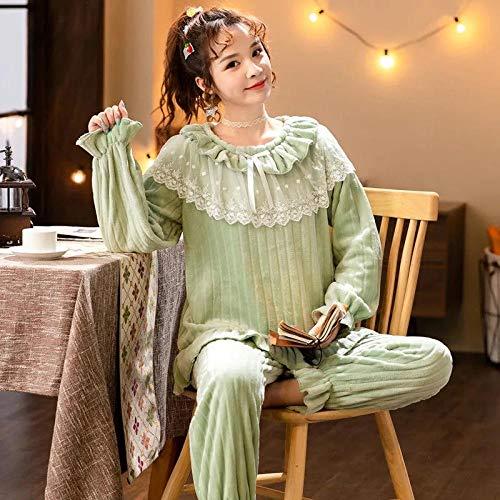 Empty Warmer Winterpyjama für Frauen Flanellpyjamas Set Bequeme Pyjamas Spitze Rundhalsausschnitt Lose Kann draußen getragen Werden -L_50-60KG