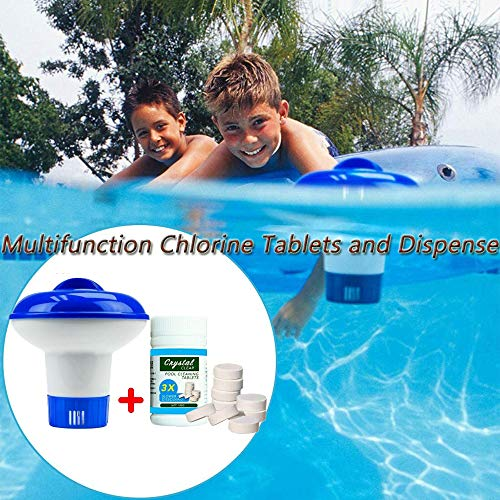 Dr.Icey Magic Pool Reinigungstabletten & schwimmender Spender,Magic Pool Cleaning Tablet