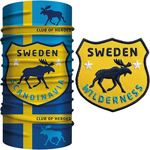 Club of Heroes Schweden Bandana Set / 1 Multifunktionstuch + 1 Patch, Aufnäher Aufbügler gestickt/Schlauchschal Halstuch Schal aus weicher Mikrofaser/Elch schwedisch Flagge Fahne COH