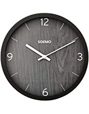 "Amazon Brand - Solimo 12"" Wall Clock - Paramount Dark Paneling (Silent Movement, Black Frame)"
